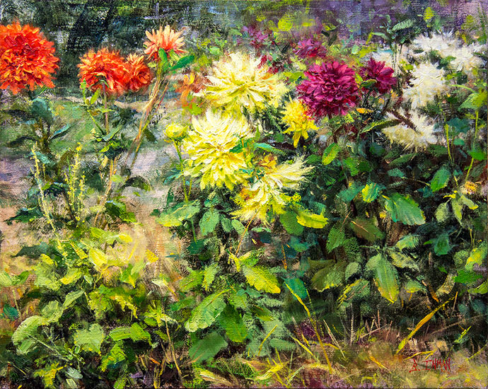 Rise to the Occasion oil painting by Bill Inman - just won the Best Floral award in the Plein Air Salon June/July 2016 competition!